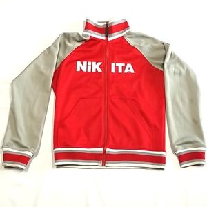 Nikita Zip Up Athletic Jacket Red And Gray Size L
